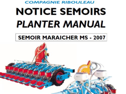 Manual de sembradora hortícola MONOSEM modelo MS año 2007