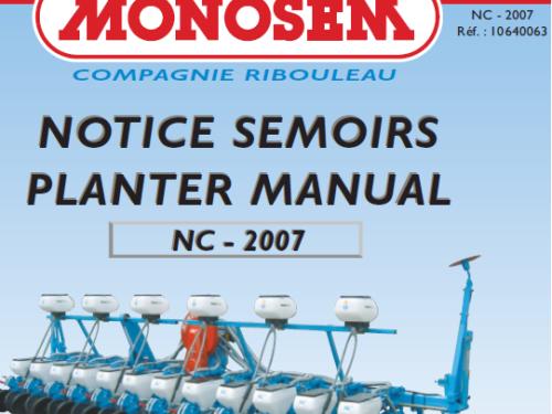 Manual de sembradora MONOSEM modelo NC año 2007